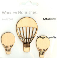 Hot Air Balloons, Wooden Flourishes Embellishments KAISERCRAFT, NEW - FL437