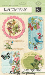Merryweather Bird Butterfly 3D Scrapbook Stickers K&Company Grand Adhesions NEW