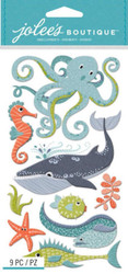 OCEAN ANIMALS 3D Stickers Jolee's Boutique EK Success 50-50902 NEW
