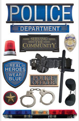 POLICE OFFICER REAL HEROS 3D Stickers Scrapbooking Paper House STDM-0168 NEW