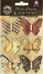Prima Butterfly 6 Butterflies Timeless Collection Scrapbooking Prima 580858 New