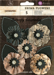 Prima Flowers 5 Flowers Cartographer Collection Scrapbooking Prima Inc.NEW