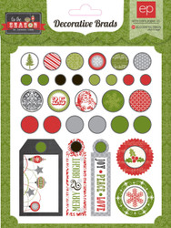 Scrapbooking CHRISTMAS Brads Tis Season Collection Echo Park Paper Co. 30 p New