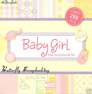 SWEET BABY GIRL 8x8 Scrapbooking Kit Paper Studio NEW