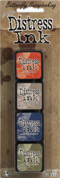 Tim Holtz DISTRESS Ink Mini Ink Pads 4 Pack Tim Holtz Ranger TDPK40354 NEW