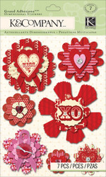 Valentines Day Medallions 7 pcs 3D Scrapbook Stickers K&Company NEW