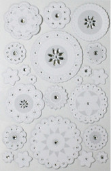 White Layered Doily & Gemstones 3D Scrapbook Stickers Martha Stewart Crafts NEW