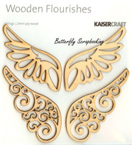 Wings, Wooden Flourishes Embellishments KAISERCRAFT, NEW - FL346