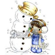 Joyful Snowman, Unmounted Rubber Stamp LITTLE DARLINGS - 7038