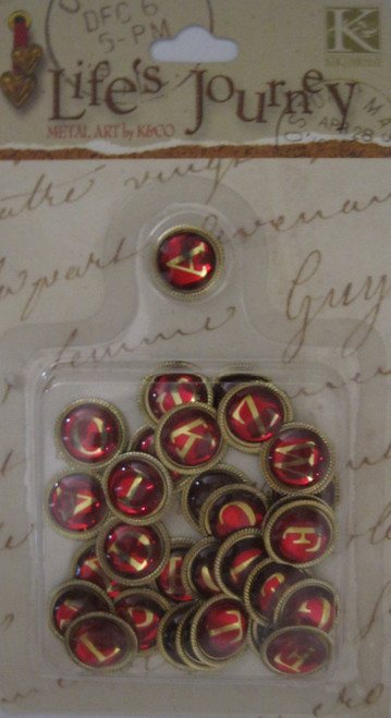 Classic Uppercase Red/Gold Charms