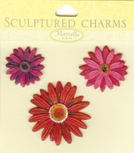 Gerbera Daisy Sculptured Charms, Embellishments - NEW, 140516