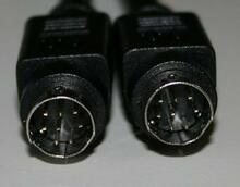 Mini Din 8 pin Male Male Black 3 ft Cable