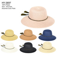 HY3697 - Floppy Chain w/ Strings Decorated Hats