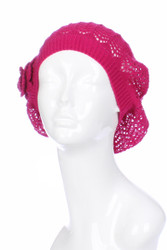 H3133F - Lightweight Summer Knit Beanie Beret With Flower Fuchsia