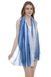 JS1301- Soft Stripes Print Oblong Scarf with short trim