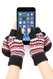 G5246 High quality Chevron Flip top Fingerless Mitten Gloves with Split Thumb Black