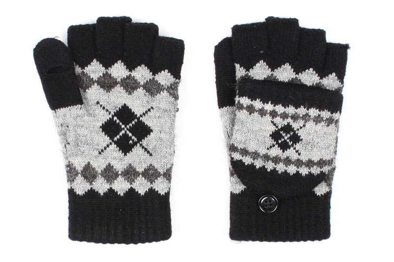 G5245 High quality Argyle Flip top Convertible Fingerless Mitten Gloves with Split Thumb Black