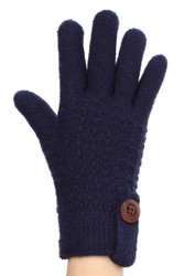 G5242L Dashing Double Layer Winter Knit Gloves with Wooden Button - Medium Navy