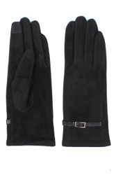 G5276 Ladies' Faux Suede Touch Screen Gloves with Leather Wrist Band Black