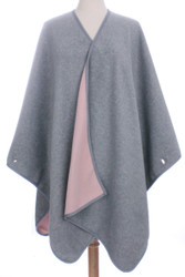 S6210 - Women's Reversible Solid Colors Winter Fleece Blanket Poncho Light Grey / Pink