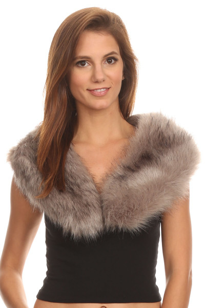 S6206 - Faux Fur Collar  Gray Sold Out