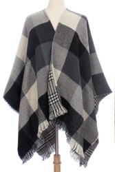 S6207 - Reversible pattern Squares and Plaid Knit Ruana Poncho with Frill