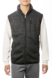 S171 Men's Mid-Weight Heather Flat Knit Comfy Inner Fleece Full Zip Sleeveless Vest