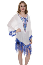 JP1361-Light Solid Color Topper / Cover-Up / Poncho with Embroidered Floral & Fringess