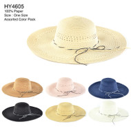 HY4605 - Floppy Bow Strings Decorated Hats 12 pc pack