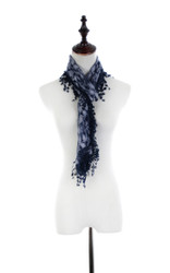 S2149 - Leaf Pattern Lace Scarf with Tassels (Unit: Piece)