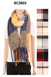 BC2803 - Check Pattern Oblong Scarf w/fringes