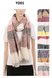 YD01 - Check Pattern Oblong Scarf w/fringes