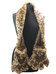 S1371A - Furry Animal Scarf with Claws in Leopard Print