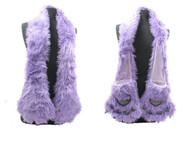 Wholesale Winter Novelty Scarves -  S1371B Purple Furry Animal Scarf with Claws- Front & Back