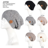 JH708 - Women's Winter Cable Knit Cozy Fleece Lined Hat Ski Beanie, Various Styles