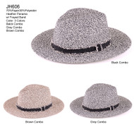 JH606 - Heather Panama Hat w/ Frayed Band