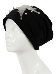 H3237 - Studs With Star Print Beanie