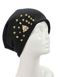 H3239 - Leopard Spike Studded Slouchy Beanie Hat