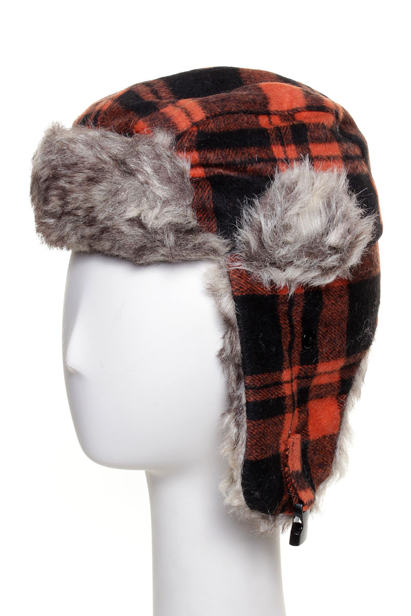 1c1611d6cc3 H1261D - Kids Buffalo Plaid Trooper Trapper Hat Orange Black