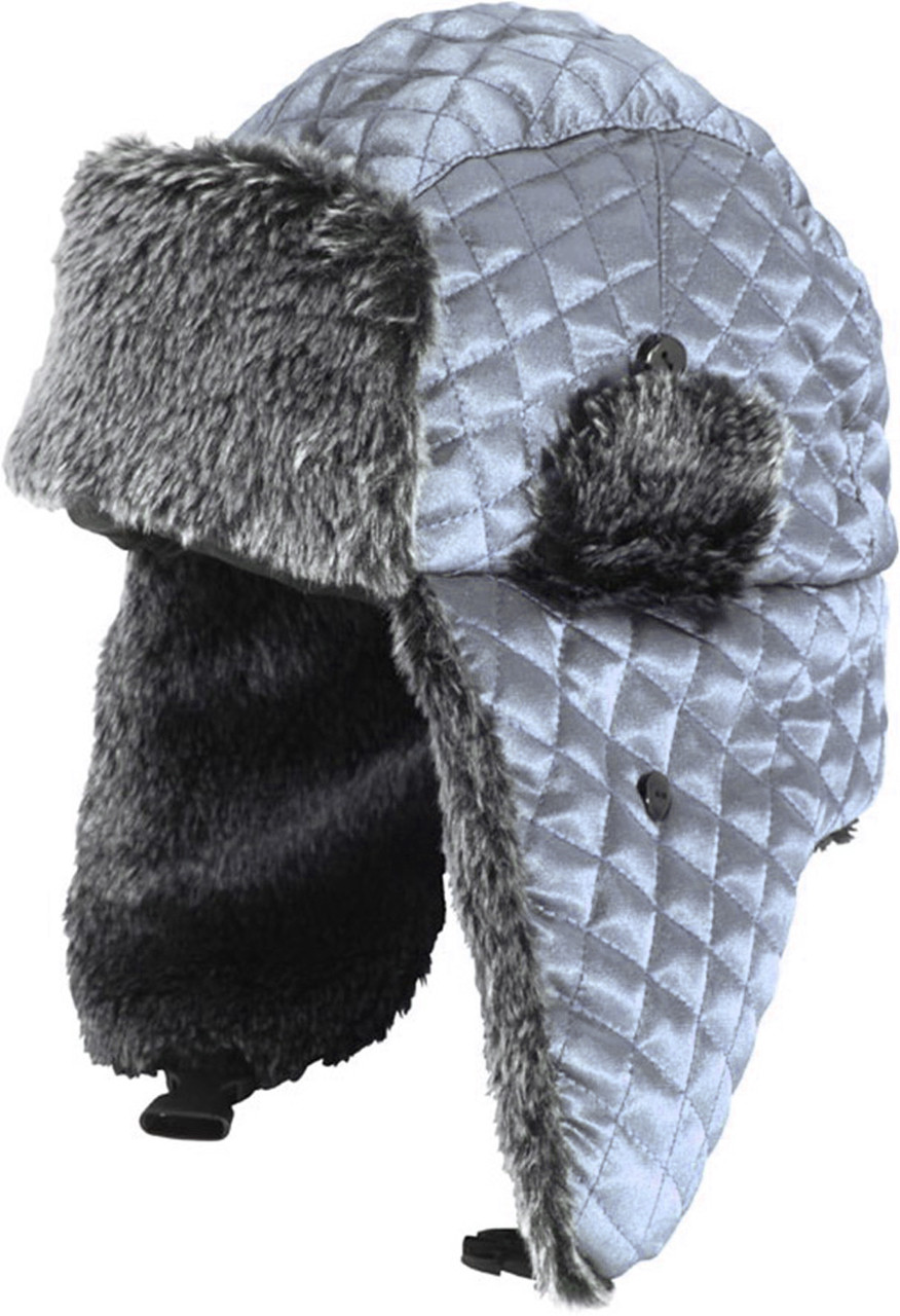 aada263c3b6ad H1263 Wholesale Womens Winter Quilted Metallic Satin Trooper Trapper Hat  Silver
