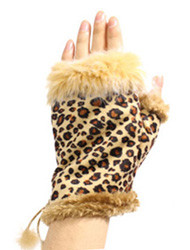 G4103- Winter Animal Print Fingerless Gloves With  Rabbit Fur Leopard Light Brown