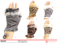 G4103- Winter Animal Print Fingerless Gloves With Rabbit Fur Pre-Assorted Mixed Dozen ( May not contain Pink)