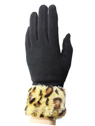 Wholesale Texting Gloves G4113- Winter Leopard Print Cuff Fur Texting Gloves