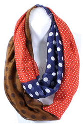 S5056C-OR   Lightweight Polka Dots Mixed Print Infinity Scarf Orange