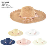 HY3694 - Floppy Shell & Rose W/ Strings Decorated Hats