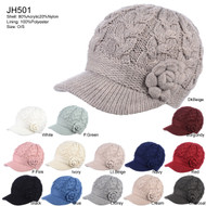 JH501 - Womens Winter Chic Cable Warm Fleece Lined Crochet Knit Hat W/Visor Newsboy Cabbie Cap