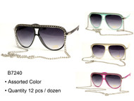 B7240 Fashion Wholesale Mens or Womens Unisex Sunglasses With Chain ( Unit: Dozen )