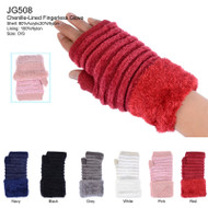 JG508  Plush Fur Cuff Double Layer Fingerless Knit Gloves (Dozen)