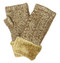 G5239  Metallic Cable Knit Double Layer Plush Fur Cuff Fingerless Gloves Gold