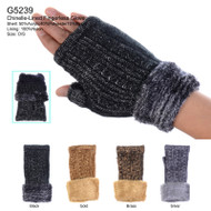 G5239  Metallic Cable Knit Double Layer Plush Fur Cuff Fingerless Gloves (Dozen)